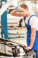 Tired mechanic. photo