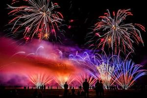 Colorful fireworks over night sky photo