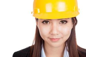 Close up of Asian engineer woman with hardhat