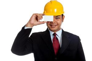 Asian engineer man close his eye with a blank card