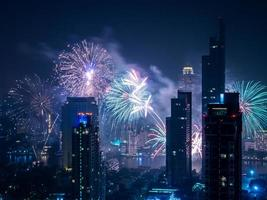 Night view cityscape of Bangkok with Fireworks