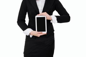 Business woman holding Digital Tablet isolated on white background