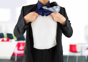 businessman showing his secret identity