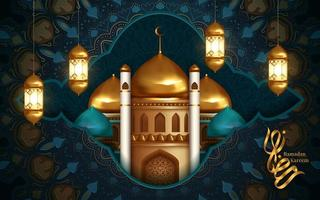 Ramadan Kareem Gold and Turquoise Greeting  vector