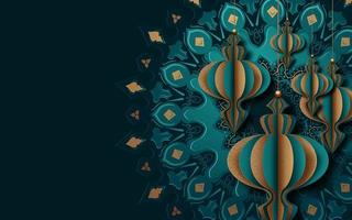 Conception de carte de ramadan 3d lanterne et mandala
