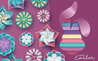 Easter Card in 3D Cut Paper Style with Flowers  vector