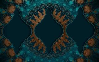 Turquoise and Gold Ornate Background  vector
