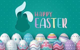 Paaskaart met konijn vorm uitgesneden en eieren