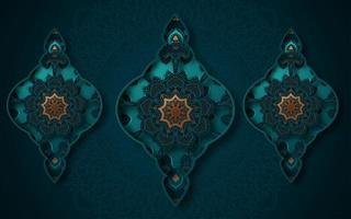 3D Ornate Turquoise and Gold Three Shapes Background  vector