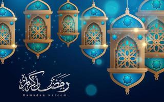 Ramadan Kareem Hanging Lanterns on Blue Greeting
