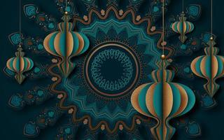 Cut Paper Style Greeting Card Design for Ramadan vector