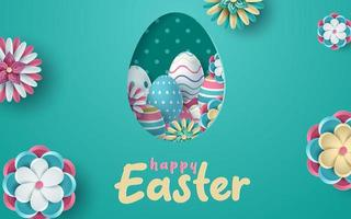 Easter Greeting with Egg Shaped Cut Out Frame  vector