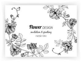 carte avec des fleurs de pois vecteur