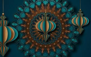 Mandala Gold and Turquoise Islamic Greeting Card Design for Ramadan