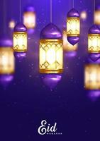 Glowing Lanterns Purple Eid Mubarak De vector
