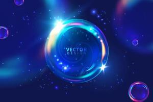 bolha 3d brilhante sobre fundo azul