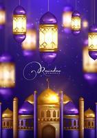 design de ramadan kareem com lanternas brilhantes
