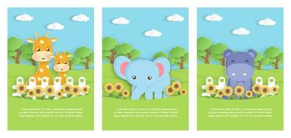 Set of zoo animals cards vector