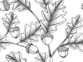 Hand Drawn Acorn Seamless Pattern vector
