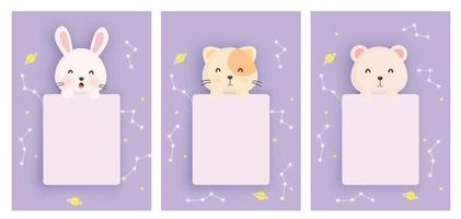 Set animals astrology cards vector