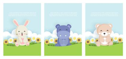 Set animals in spring cards vector