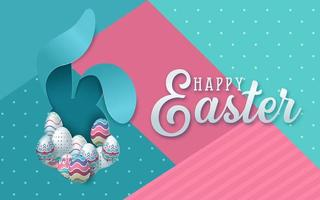 Pink and Blue Polka Dot Cut Paper Easter Greeting