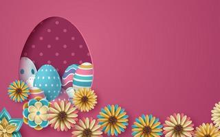 tarjeta de pascua rosa con huevos 3d con forma de huevo de papel cortado vector