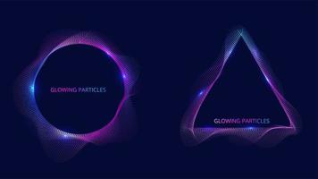 partícula de círculo y triángulo azul y morado