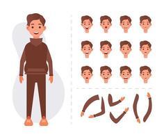 Young man character element set vector