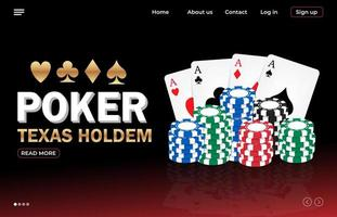 Poker online landing page template vector