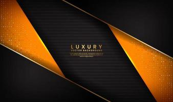 Abstract shape luxury black and orange background with golden lines