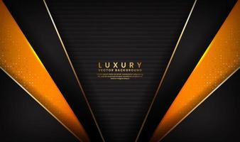 Abstract luxury black and orange background with golden lines