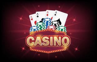 Casino frame label, falling ribbons Casino. vector