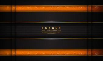 Abstract dark space  luxury black and orange background with golden lines