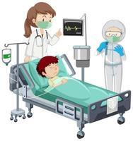 niño enfermo en cama de hospital vector
