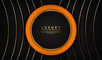 Abstract luxury black and orange background with golden lines in circle