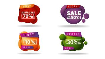 Collection of round bubble discount coupons vector