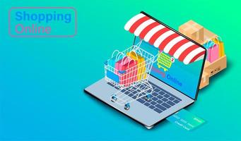 Using Credit for Shopping Online on Laptop