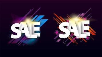 Sale set with colorful geometric elements vector