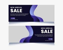 Purple Curved Shape Social Media Banner Set
