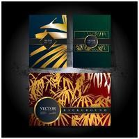 cartão colorido com padrões de folhas douradas