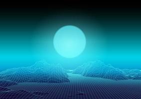 Blue wireframe landscape design vector