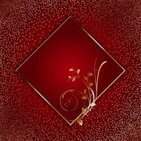Golden floral frame on gold glitter and red vector