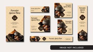 conjunto de modelo de anúncios de banner de comida do ramadã