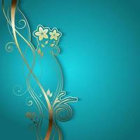 disegno floreale dorato su sfondo blu illuminato