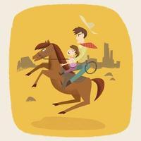 Cowboy family on horseback vector