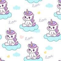 Unicorn Seamless Pattern with Clouds and Hearts