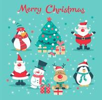 Christmas card with Santa, tree, penguin, deer and snowman vector