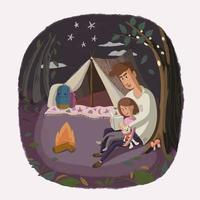 Happy loving camping family vector