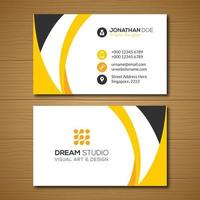 Yellow Gold Curve Business Card Template  vector